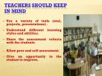 teachers should keep in mind
