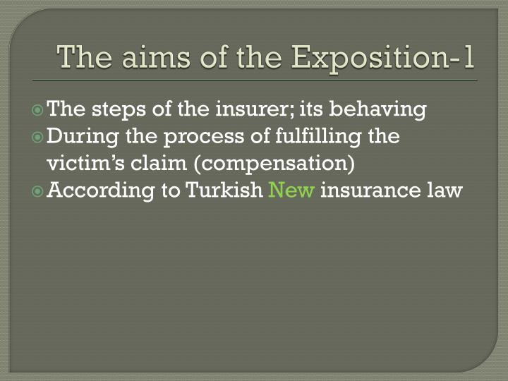 The aims of the exposition 1