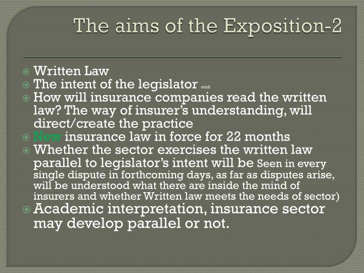 The aims of the Exposition-2