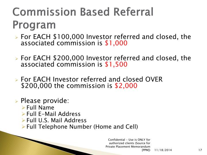 Commission Based Referral Program