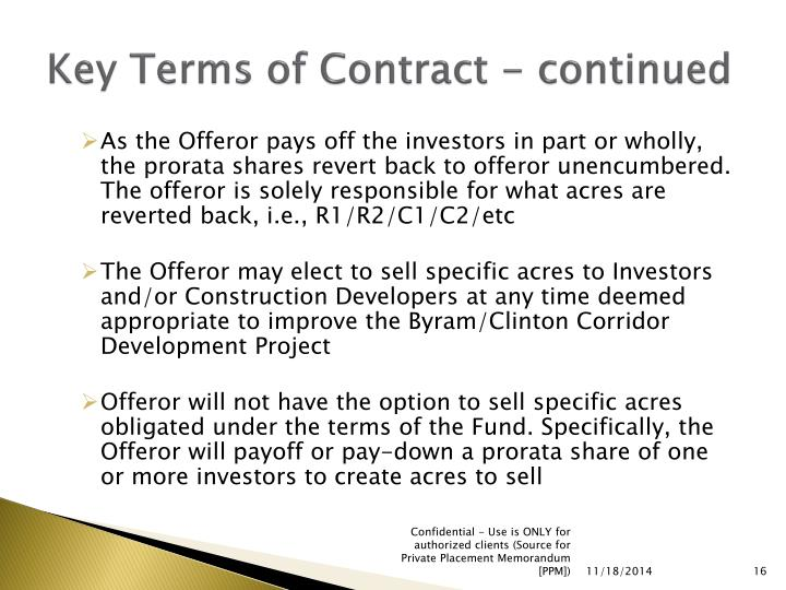 Key Terms of Contract - continued