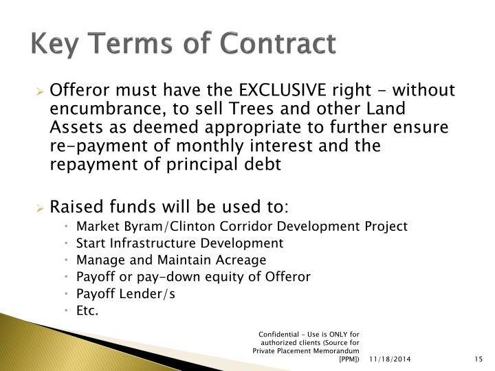 Key Terms of Contract