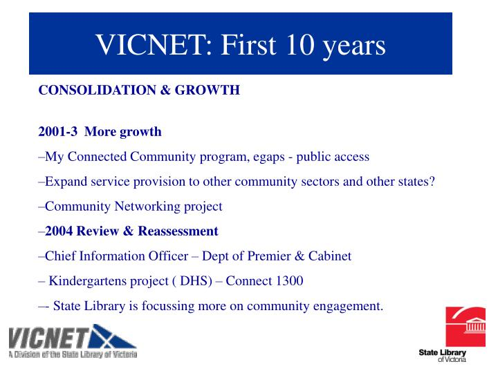 VICNET: First 10 years