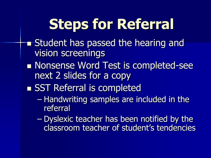 Steps for Referral