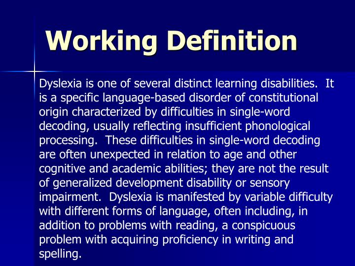 Working definition