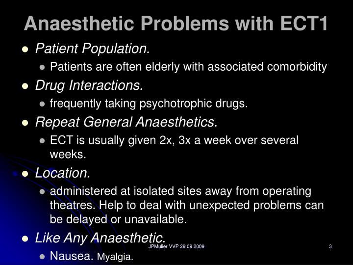 Anaesthetic problems with ect1