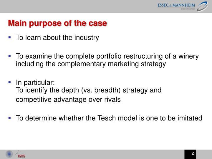 Main purpose of the case