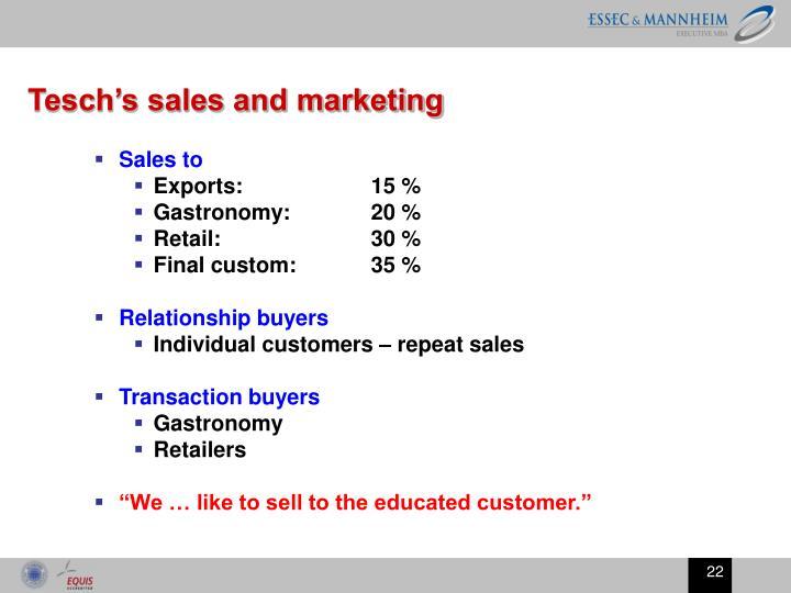 Tesch's sales and marketing