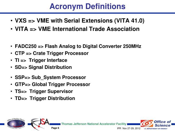 Acronym Definitions