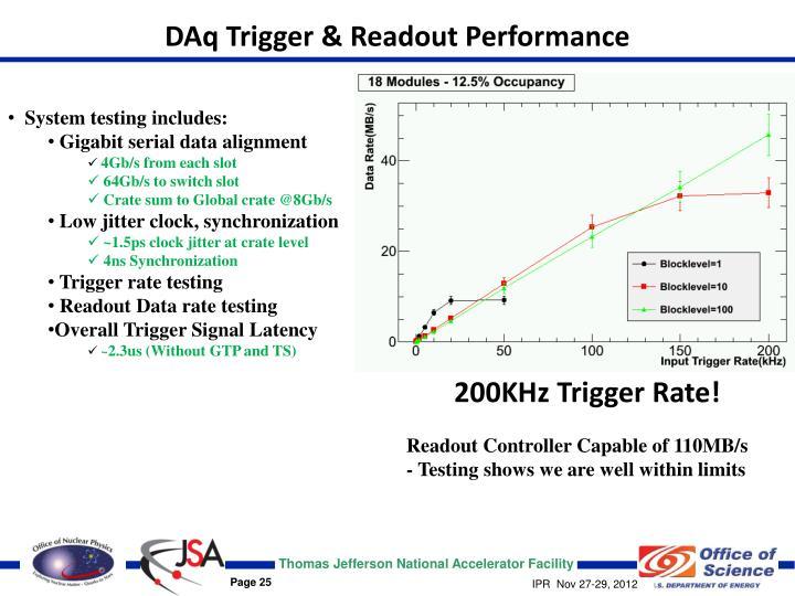 DAq Trigger & Readout Performance
