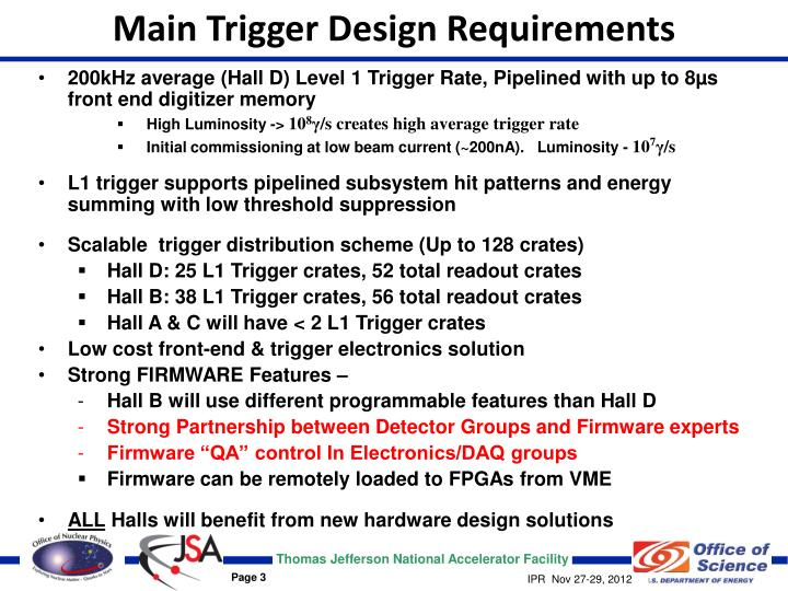 Main Trigger Design Requirements