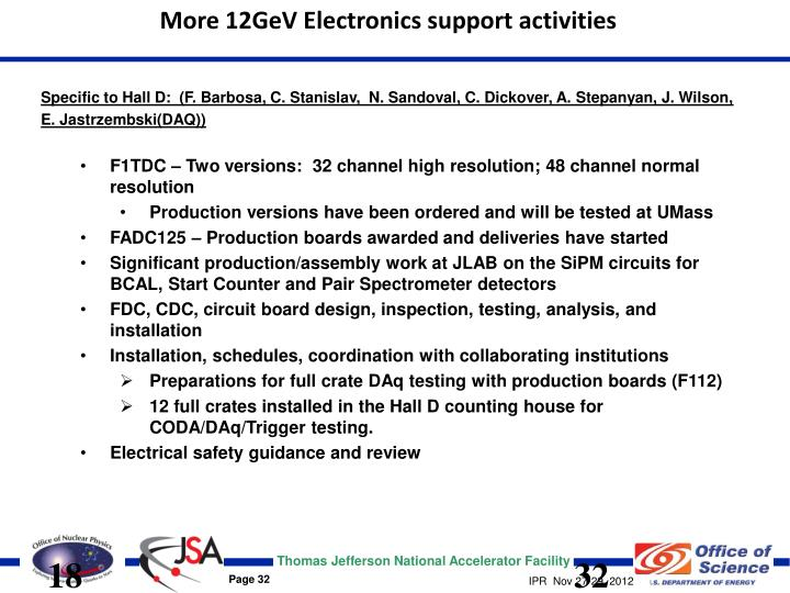 More 12GeV Electronics support activities