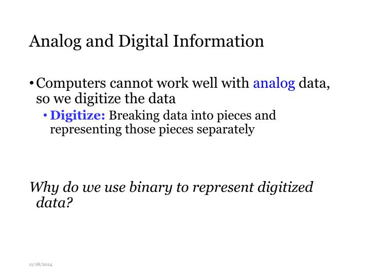 Analog and Digital Information