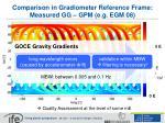 comparison in gradiometer reference frame measured gg gpm e g egm 08