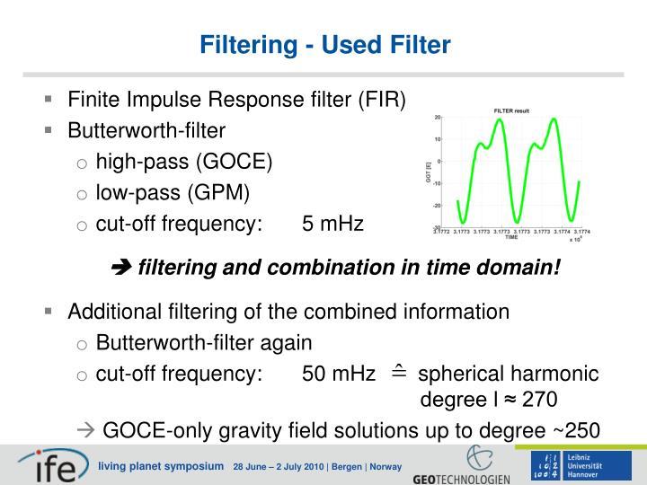 Filtering - Used Filter