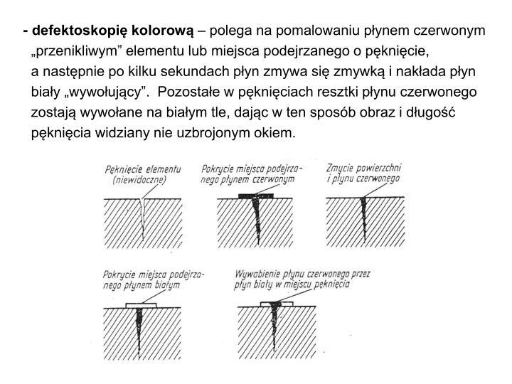 - defektoskopię kolorową