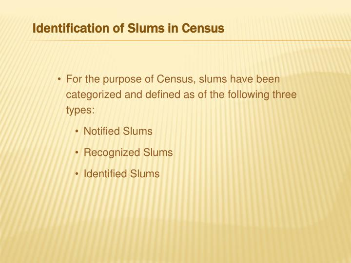 Identification of Slums in Census