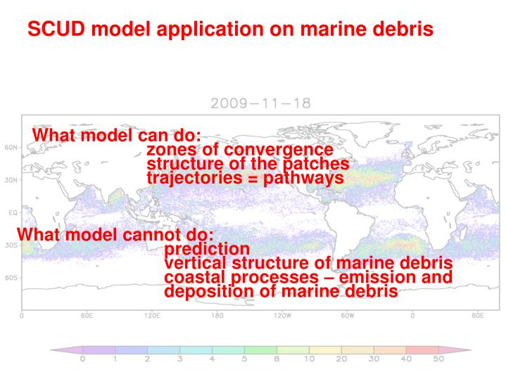 SCUD model application on marine debris