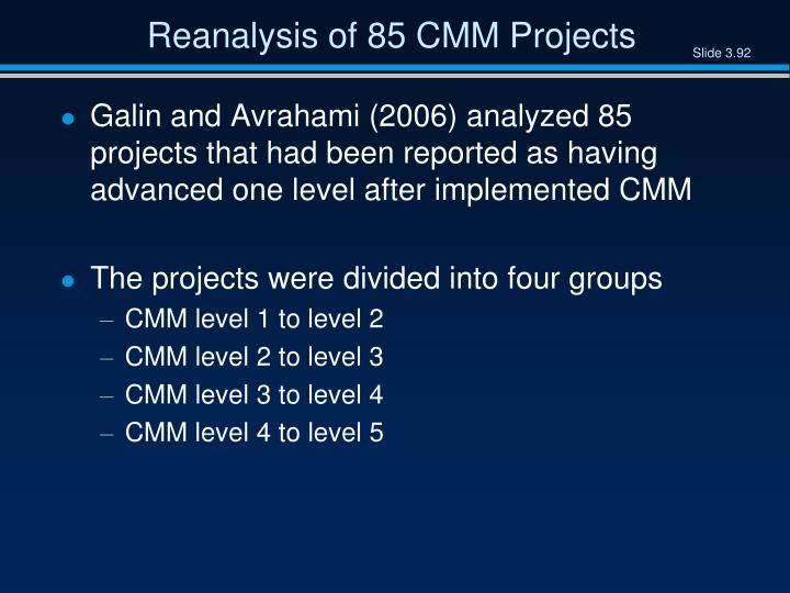 Reanalysis of 85 CMM Projects