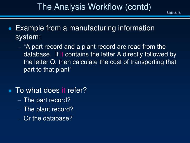 The Analysis Workflow (contd)