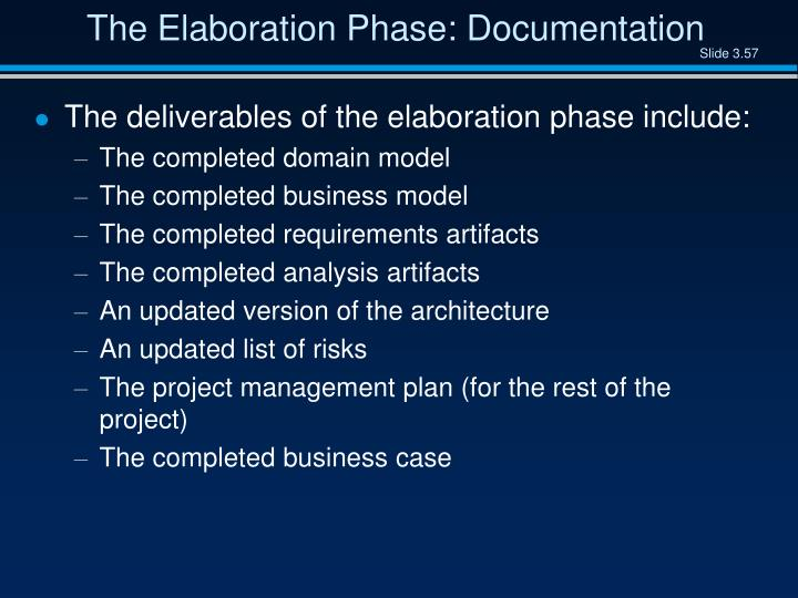 The Elaboration Phase: Documentation