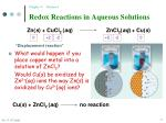 redox reactions in aqueous solutions