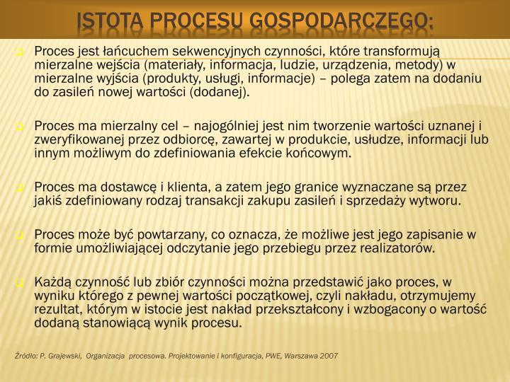Istota procesu gospodarczego: