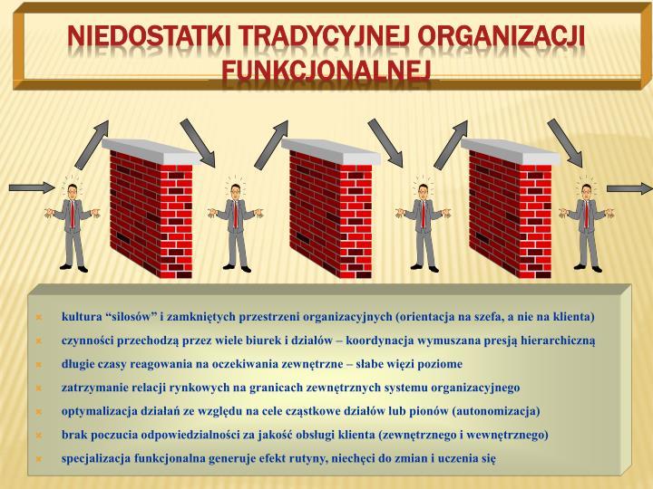 Niedostatki tradycyjnej organizacji funkcjonalnej