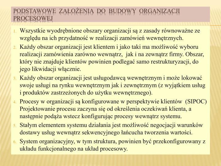 Wszystkie wyodrębnione obszary organizacji są z zasady równoważne ze względu na ich przydatność w realizacji zamówień wewnętrznych.