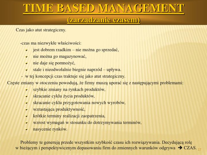 TIME BASED MANAGEMENT