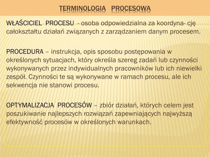 TERMINOLOGIA   PROCESOWA