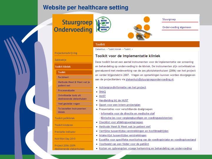 Website per healthcare setting