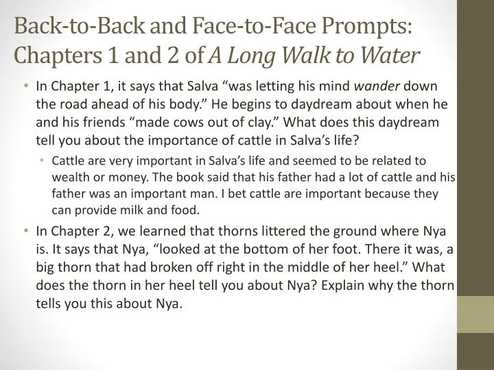 Back-to-Back and Face-to-Face Prompts: Chapters 1 and 2 of