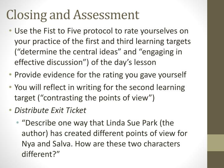 Closing and Assessment