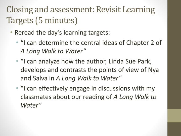 Closing and assessment: Revisit Learning Targets (5 minutes)