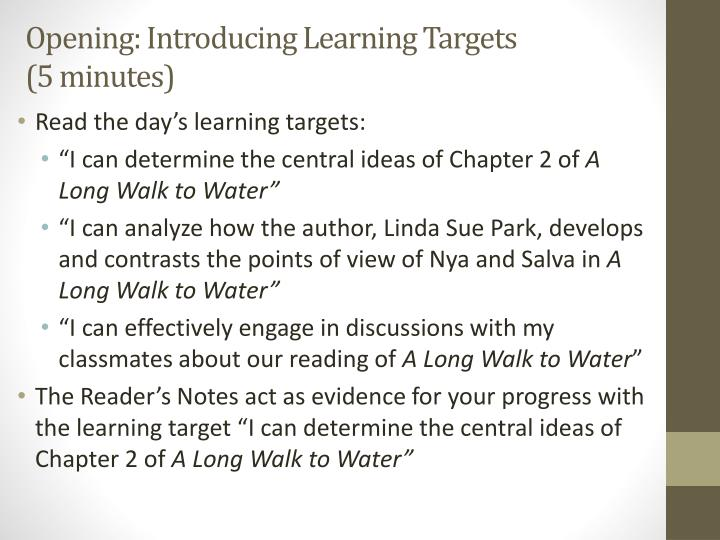 Opening: Introducing Learning Targets