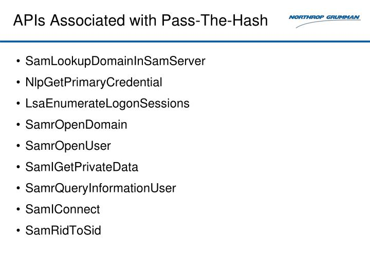 APIs Associated with Pass-The-Hash