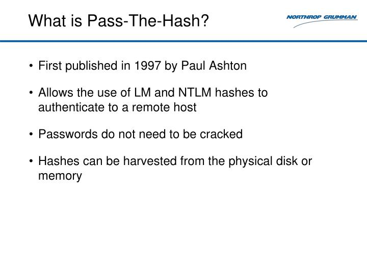 What is Pass-The-Hash?