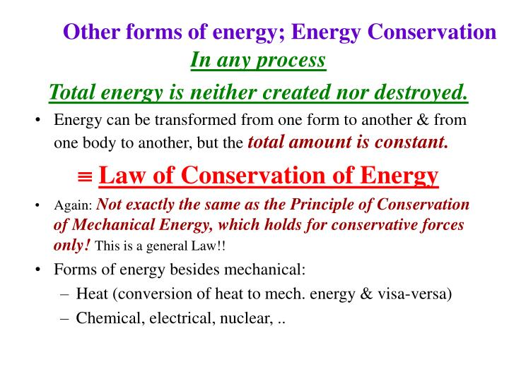 Other forms of energy; Energy Conservation