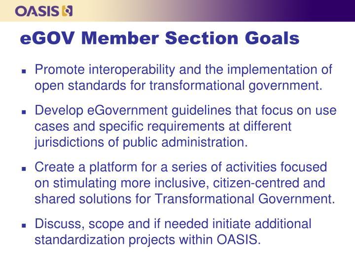 eGOV Member Section Goals