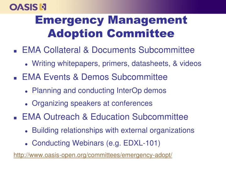 Emergency Management Adoption Committee
