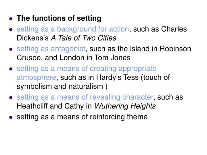 The functions of setting