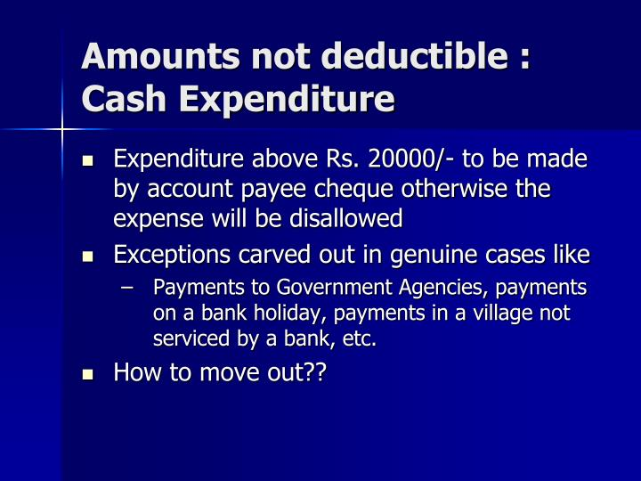 Amounts not deductible :