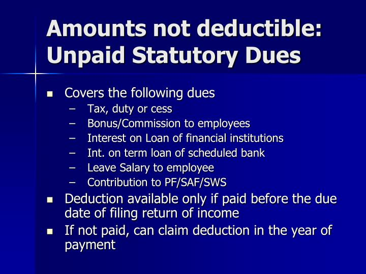 Amounts not deductible: