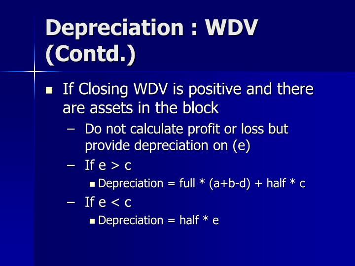 Depreciation : WDV (Contd.)