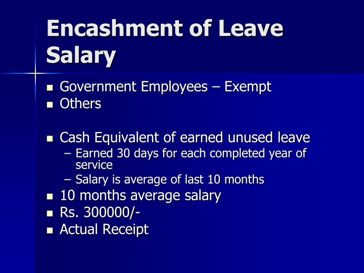 Encashment of Leave Salary