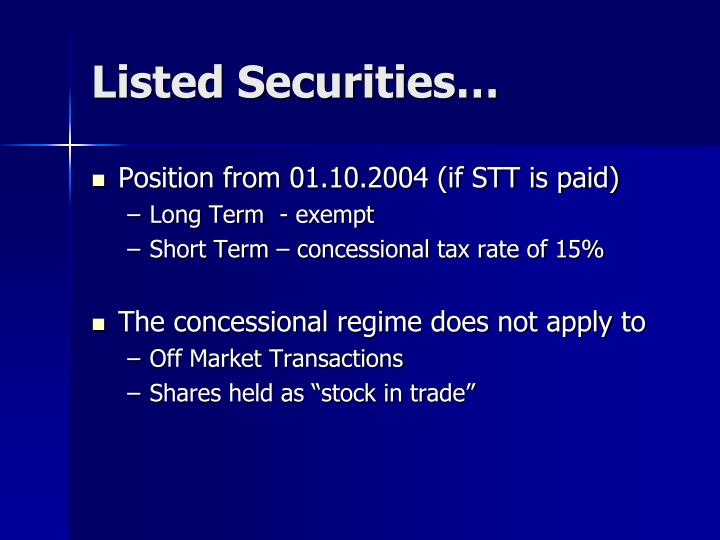 Listed Securities…