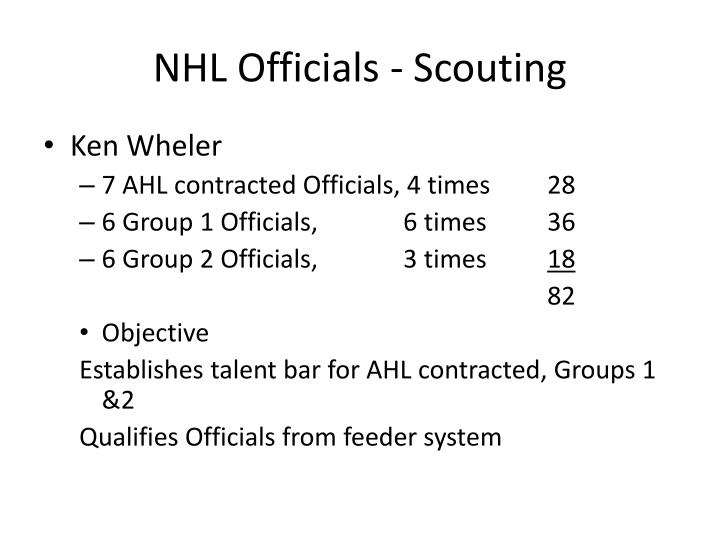 NHL Officials - Scouting