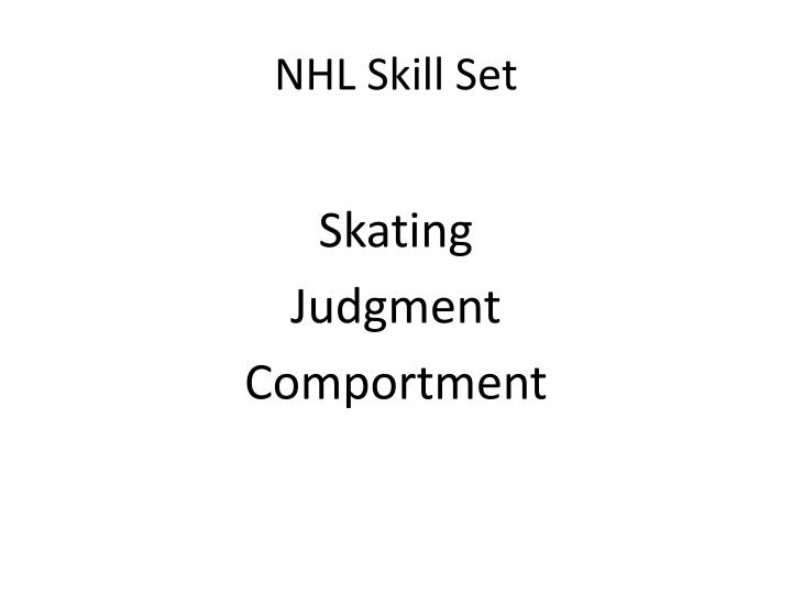 NHL Skill Set