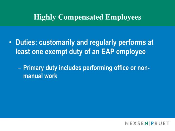 Highly Compensated Employees